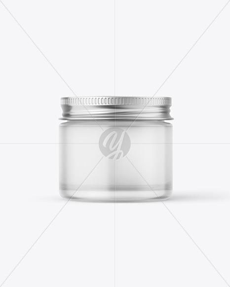 60ml Frosted Glass Jar w/ Metallic Cap Mockup