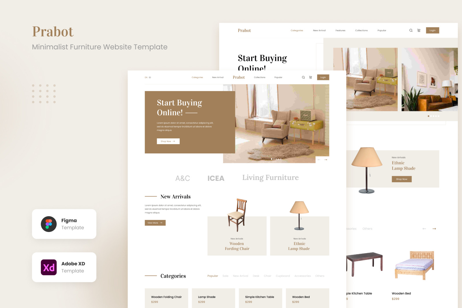 Prabot - Neat and Clean Minimalist Furniture Website Template
