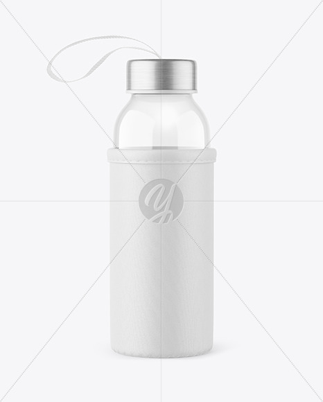 Glass Bottle with Pouch Mockup