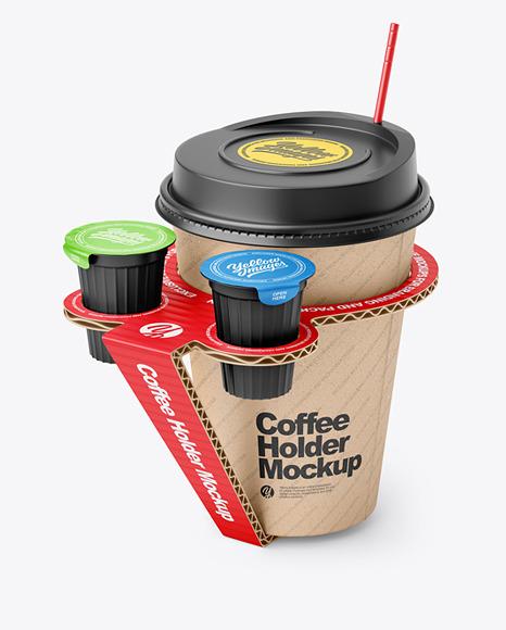 Kraft Paper Coffe Cup in Cardboard Holder Mockup
