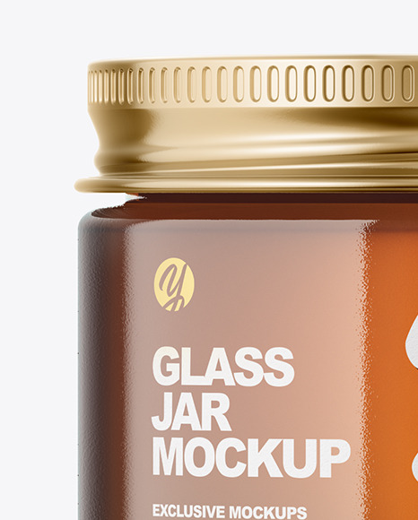 60ml Amber Glass Jar w/ Metallic Cap Mockup