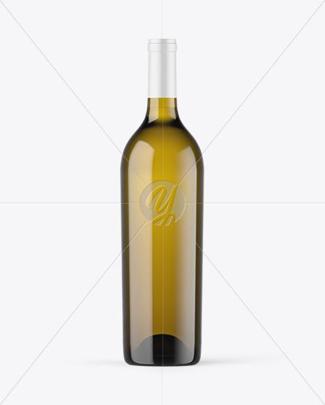 Antique Green Glass White Wine Bottle Mockup