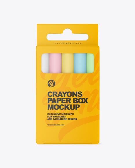 Paper Box w/ Crayons Mockup