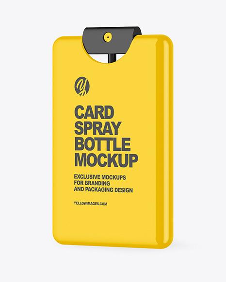 Glossy Card Spray Bottle Mockup