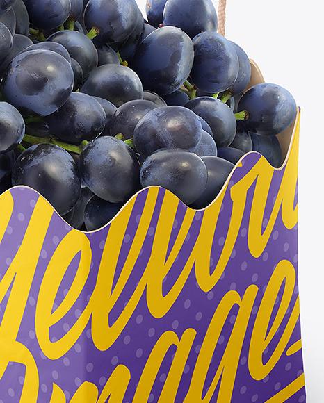 Matte Paper Basket with Blue Grapes Mockup