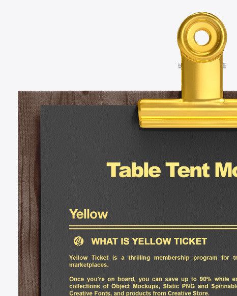 Plywood Table Tent w/Pin Mockup