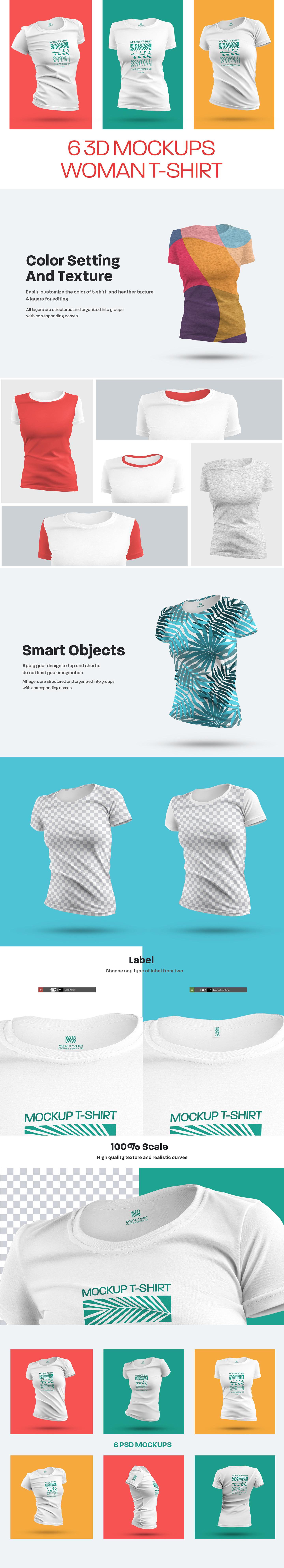 6 3D Mockups Woman T-Shirt