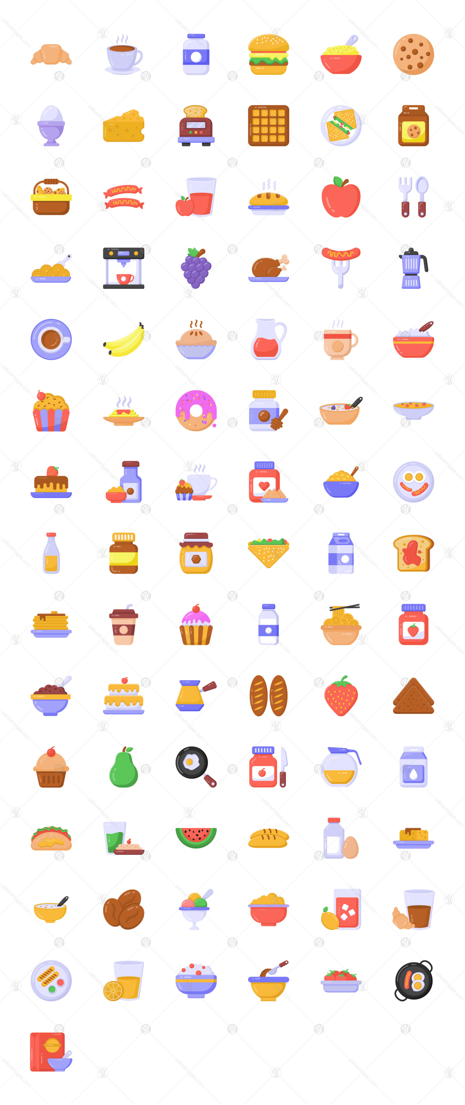 85 Flat Detailed Breakfast Icons