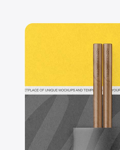 Chopsticks in Kraft Paper Pack Mockup