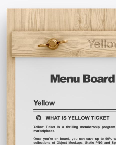 Wooden Menu Board Mockup