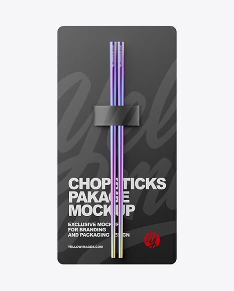Metallic Chopsticks in Matte Pack Mockup