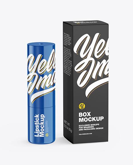 Glossy Lipstick Tube w/ Box Mockup