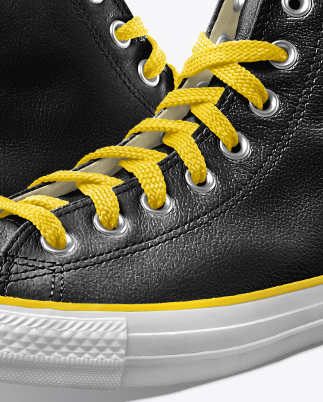 Two High-Top Leather Sneakers Mockup - Half Side View