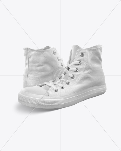 Two High-Top Canvas Sneakers Mockup - Half Side View