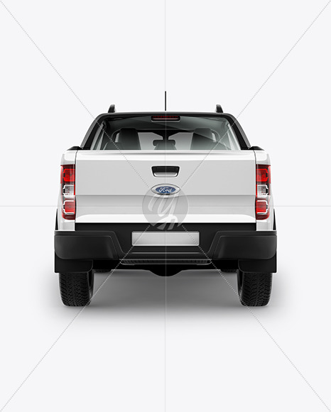 Download Pickup Truck Mockup Back View In Vehicle Mockups On Yellow Images Object Mockups PSD Mockup Templates