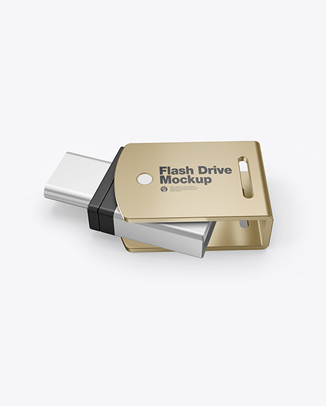 Metallic USB Type C Flash Drive Mockup