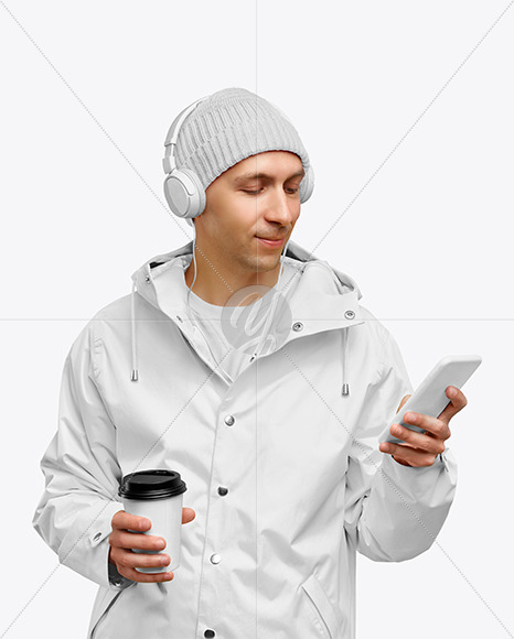 Man in a Jacket and a Hat Mockup