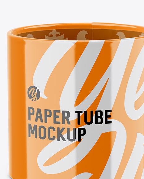 Opened Glossy Paper Tube Mockup