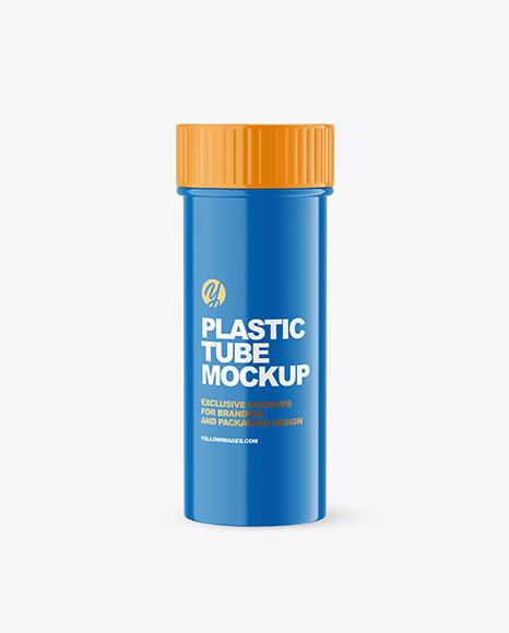 Glossy Plastic Pills Bottle Mockup