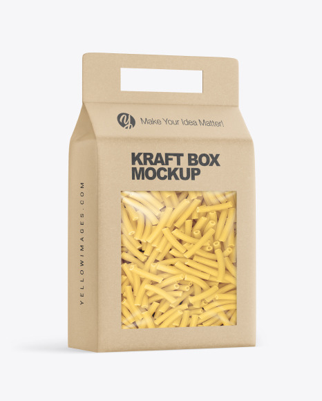 Kraft Box with Tortiglioni Pasta Mockup
