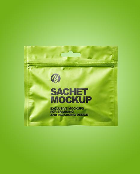 Metallic Sachet with Zip Lock Mockup
