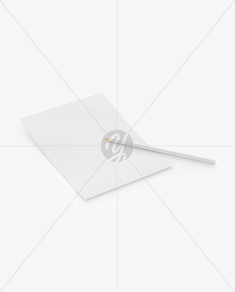 Paper With Pencil Mockup