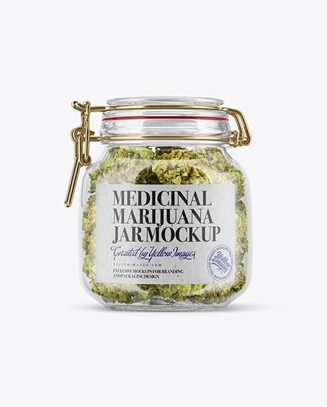 Medicinal Marijuana Jar w/ Clamp Lid Mockup