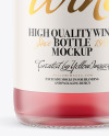 Frosted Glass Bottle with Pink Champagne Mockup