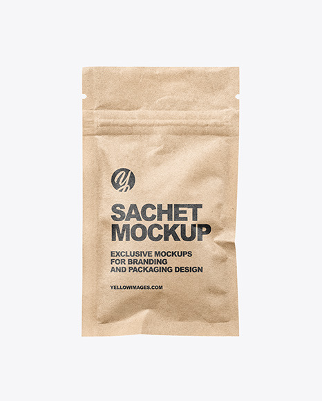 Kraft Paper Sachet with Zip Lock Mockup