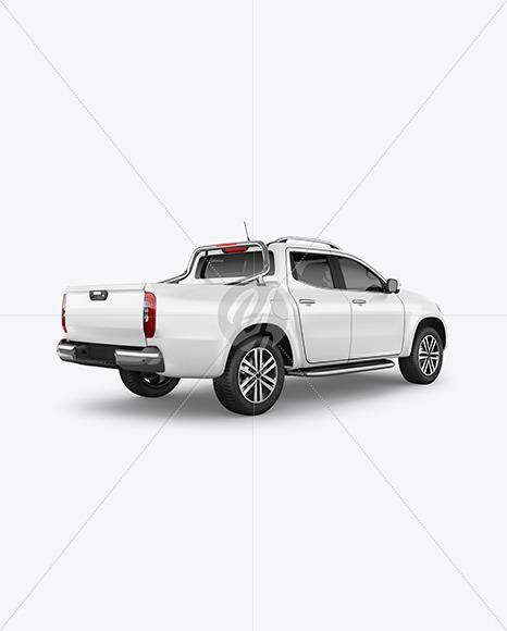 Luxury Pickup Truck Mockup - Back Half Side View