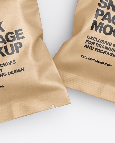 Two Kraft Snack Package Mockup