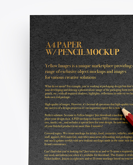 Kraft Paper With Pencil Mockup