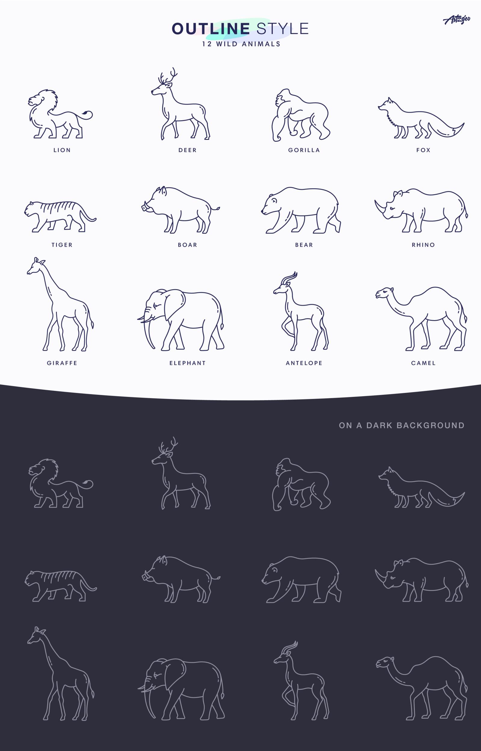 Wild Animals Icon Set