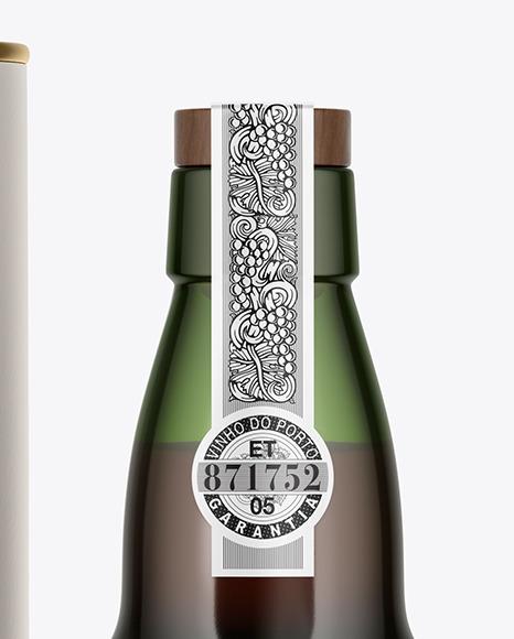 Green Glass Port Wine Bottle With Tube Mockup