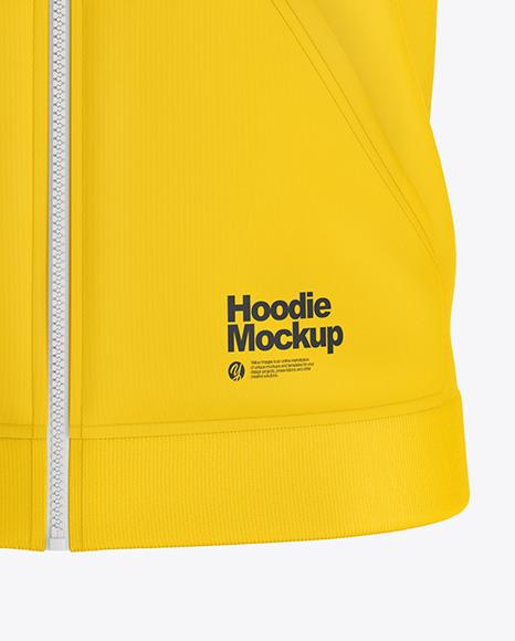 Raglan Full-Zip Hoodie Mockup - Front View