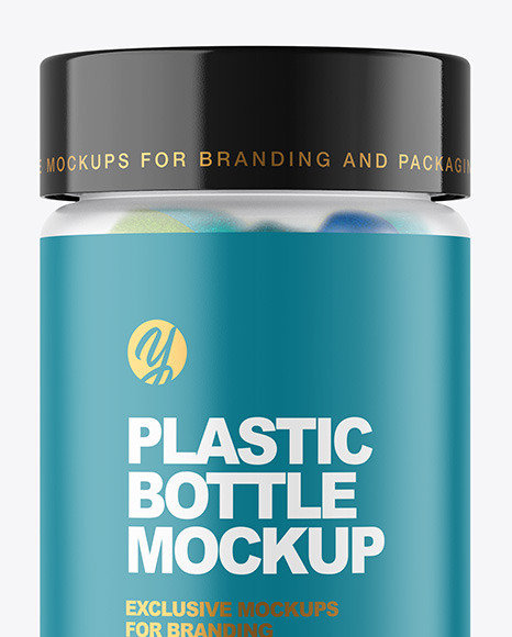 Frosted Plastic Bottle with Gummies Mockup