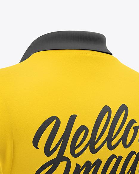 Men's Zip Polo T-Shirt Mockup - Back Half Side View