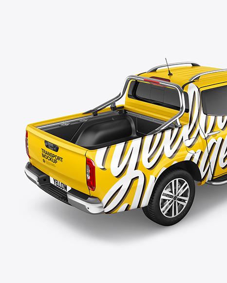 Luxury Pickup Truck Mockup -Back Half Side View