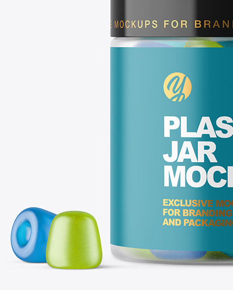 Frosted Plastic Jar with Gummies Mockup