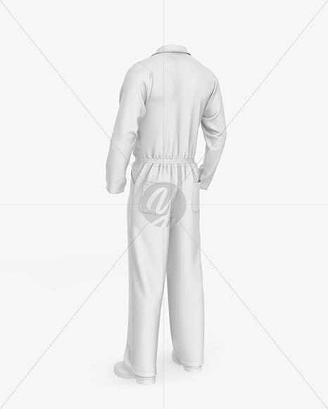 Worker Uniform (Coveralls) Mockup – Back Half Side View