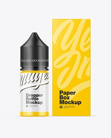 Matte Dropper Bottle w/ Box Mockup
