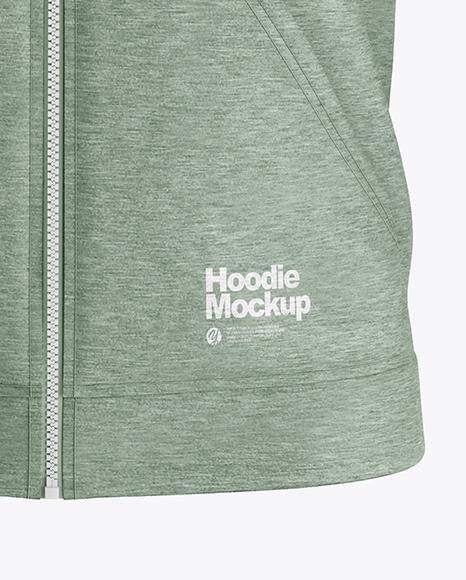 Heather Raglan Full-Zip Hoodie Mockup - Front View