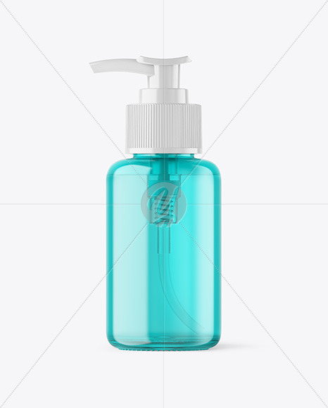Color Glass Cosmetic Bottle with Pump Mockup