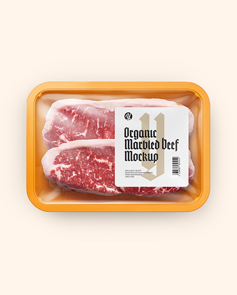 Plastic Tray With Marbled Beef Mockup