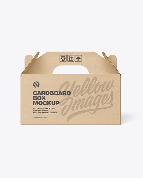 Kraft Cardboard Box w/ Handle Mockup