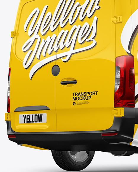 Panel Van Mockup - Back Half Side View
