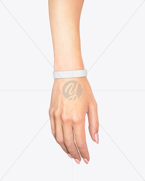 Silicone Wristband on Hand Mockup