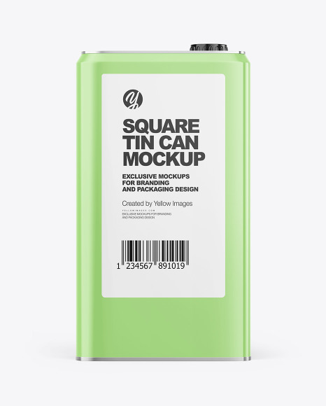 Glossy Square Tin Can Mockup
