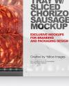 Plastic Tray With Glossy Film & Chorizo Sausage Mockup
