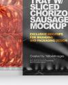 Plastic Tray With Matte Film & Chorizo Sausage Mockup